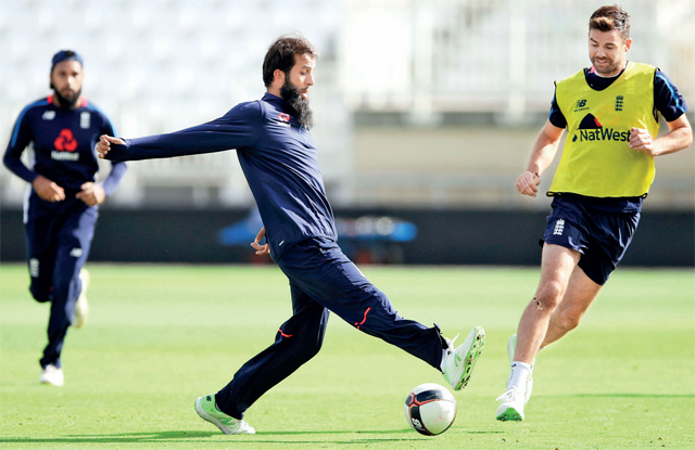 England's Alastair Cook and Moeen Ali during nets ahead of their fourth Test against India at Southampton
