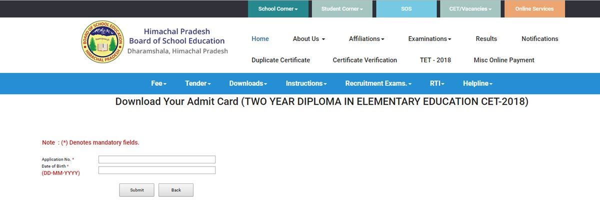 Hptet Admit Card 2018 Download Your Hall Ticket Here Hpbose Org