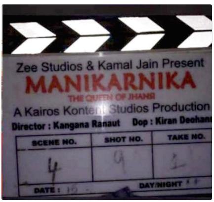Clapperboard bearing Kangana's name as director