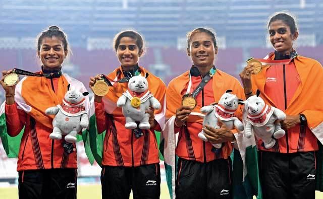 India's Gold medal winning quartet