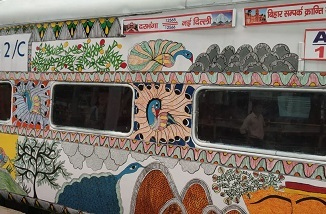 Bihar sampark kranti express which travels from Darbhanga to Delhi was recently painted with madhubani painting (1)