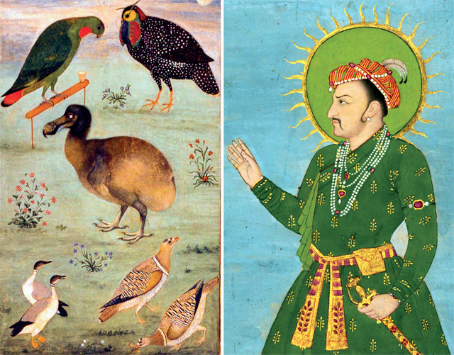Painting of the Dodo by Ustad Mansur; (right) Emperor Jahangir