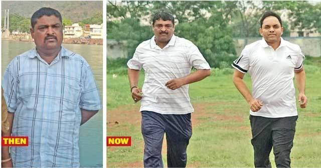 (Left) Kamleshsinh Gohil eight months ago; a leaner and fitter Gohil running alongside Ahmedabad (rural) SP Rajendra Asari