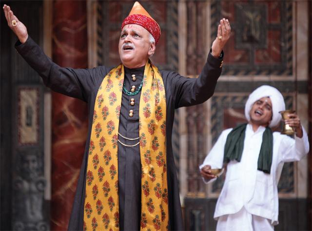 Utkarsh Mazumdar (left) and Ajay Jairam in a performance of Maro Piyu Gayo Rangoon at the Shakespeare Globe Theatre, London, in 2012