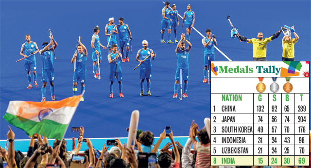 The Indian men's team acknowledges supporters after beating Pakistan in the bronze medal playoff