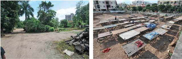 Vendors likely to be lent a portion of Rasala Park (left). In Chandkheda, vendors already reallocated to a plot at Sona Crossroads