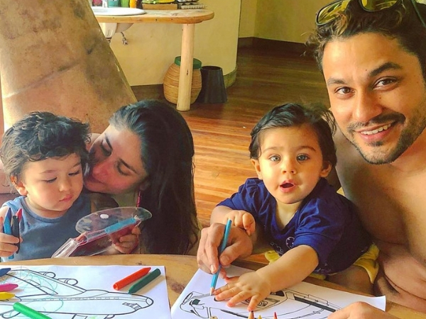 Inaaya and Taimur get some colouring lessons. Photo Source: Soha Ali Khan / Instagram