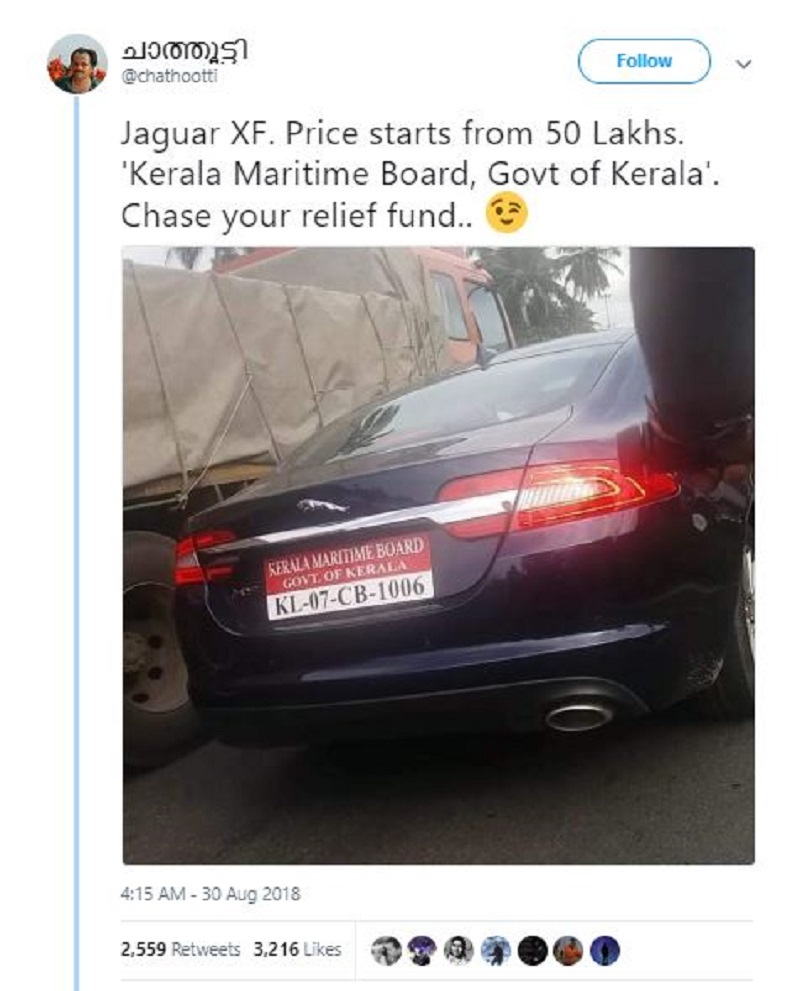 chathootti  FAKE: Claim that Kerala government is splurging money from relief fund on luxury cars | India News Master