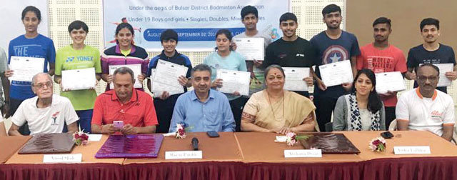 Winners pose at the 7th Gujarat state U-19 Badminton C'ship