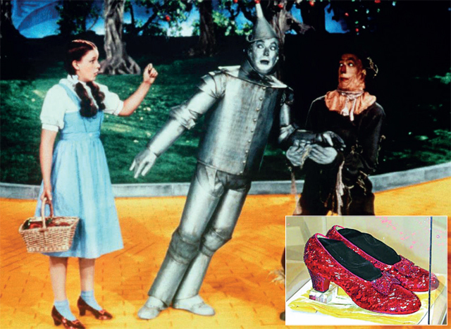 Judy as Dorothy in The Wizard of Oz (1939); the shoes that were stolen (inset)