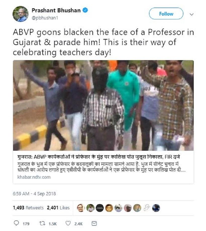 tweet  Prashant Bhushan's tweet on 'ABVP goons' attacking Gujarat professor is misleading | India News Master