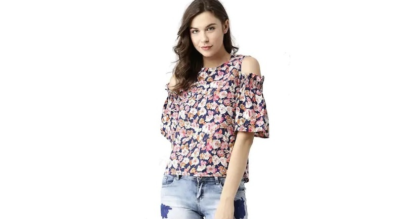 Marie Claire Women Printed Cold Shoulder Top