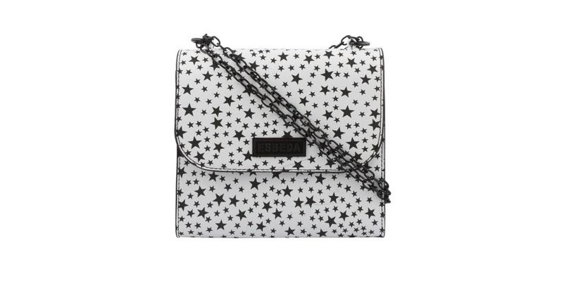 Black & White Printed Synthetic Slingbag For Women