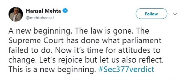 Hansal  section 377: Sec 377: Rainbow flags come out of closet to celebrate SC verdict | India News Master