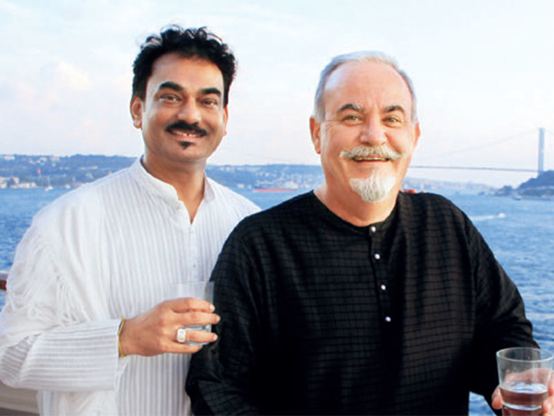 Fashion designer Wendell Rodricks with his partner Jerome Marrel