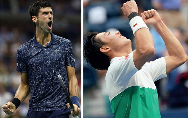 Novak Djokovic (L) during his quarters encounter against John Millman; Kei Nishikori (R) celebrates his victory over Marin Cilic