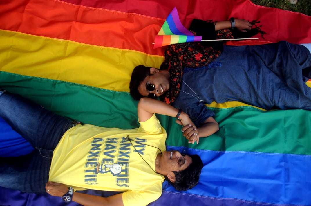 Members of LGBTQIA+ community celebrate the verdict. Photo by Nikhil Ghorpade
