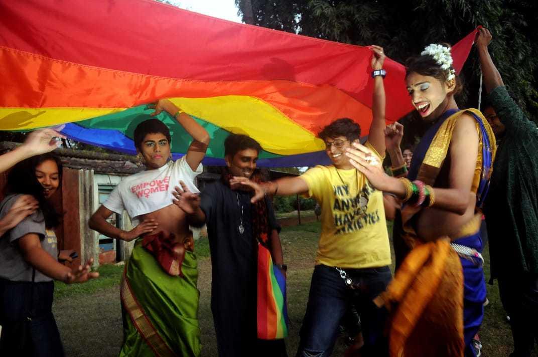 Members of LGBTQIA+ community celebrate the verdict. Photo by Nikhil Ghorpade