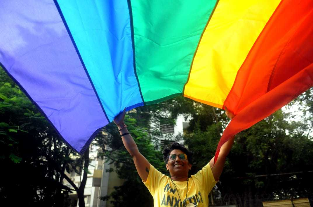 Members of LGBTQIA+ community celebrate the SC verdict. Photo by Nikhil Ghorpade