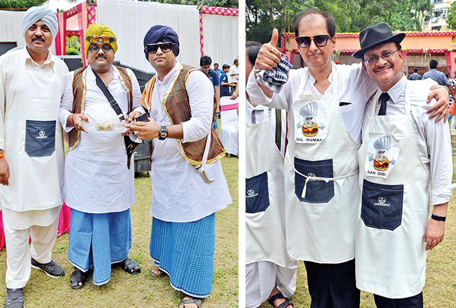 (L) Arvind, Manoj and Manish's Punjabi dishes were a hit (R) Dilip and Sanjay (BCCL/ IB Singh)