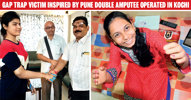 Left: Monika's father, Ashok More, greets the Pune student, who received new hands in a transplant last year. Right: Monika, who lost her hands in 2014, shows her prosthetic limbs