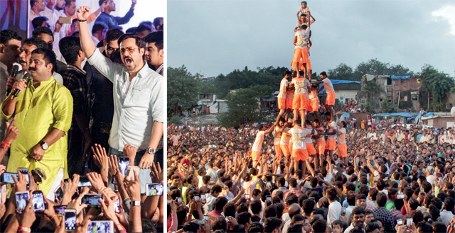 Kadam with Emraan Hashmi at his dahi handi event on Monday