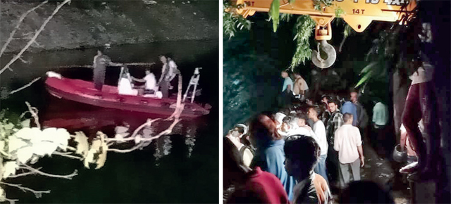 The fire brigade searching for Sachin Singh in Aare Colony pond