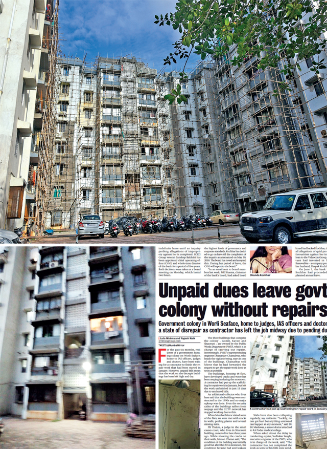 (Clockwise from above left) The 'cleared' Kaveri building on Saturday; scaffolding left abandoned earlier this year; and Mirror's June 19 report on residents being left in the lurch
