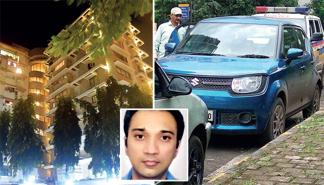The Malabar Hill society where the family lives. R: 39-year-old Sanghvi's car, which was found in Koparkhairane, Navi Mumbai, on Thursday, hours after he vanished