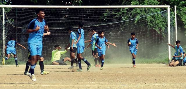 Confusion reigns as St Anthony bag their third goal but don't know how many more to score to qualify for knockouts yesterday at Azad Maidan