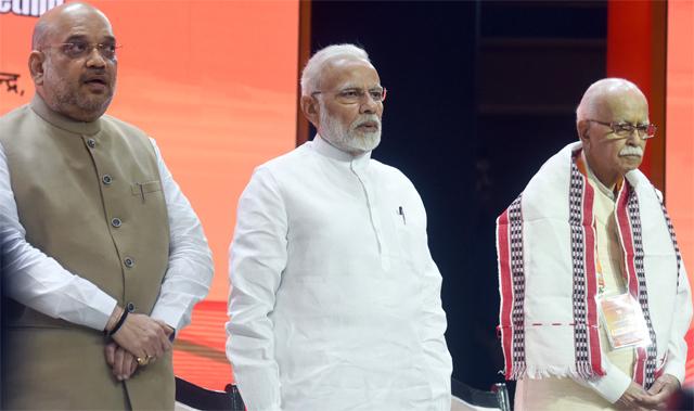 Narendra Modi, Amit Shah and LK Advani at the BJP national executive meeting in New Delhi
