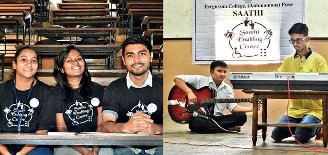 Oshin Bamb of Fergusson College (top, R) heads Saathi and manages all its activitis through a few dedicated donors