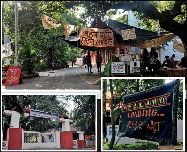Clockwise from top left: Posters emphasising students' grievances dot the campus. Photos by Prachee Kulkarni/ BCCL