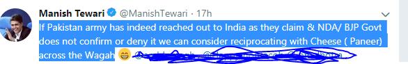 tewari tweet  Make Pak 'grate' again: Pakistanis on Twitter about potential cheese imports' ban Master