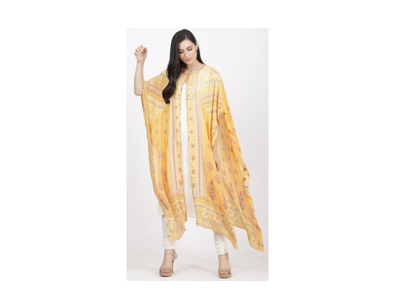 Yellow & White Geometric Print Kaftan by Ritu Kumar
