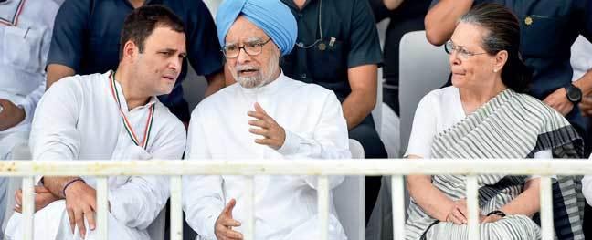Rahul Gandhi, Manmohan Singh and Sonia Gandhi at the protest rally