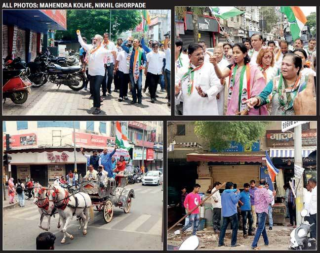 (L-R) NCP lopped flowers and walked with leaders, while Congress rode horse carts, but did not make shops down shutters; on the other hand, MNS threatened quite a few shopkeepers