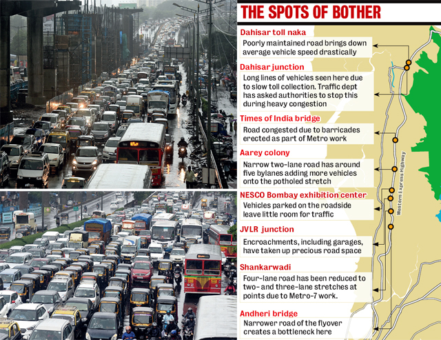 The traffic police are trying to ease eight major bottlenecks on the WEH