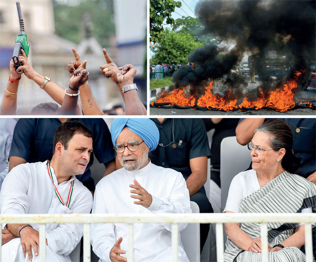 Top: Congress workers hold a refueling machine during a protest in Bengaluru; and burning tyres in Jammu; (Above) Rahul Gandhi, Manmohan Singh and Sonia Gandhi at the protest rally