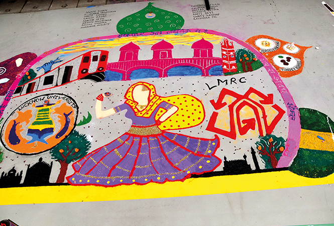 Rangoli made by students of Lucknow University at the Transport Nagar Metro Depot (BCCL/ Farhan Ahmad Siddiqui)