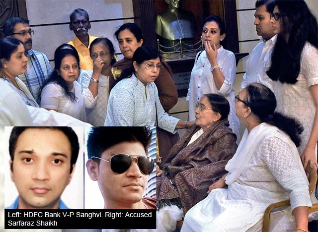 Siddharth Sanghvi's family at a prayer meeting in Bhartiya Vidya Bhavan on Tuesday (PHOTO BY DEEPAK TURBHEKAR)