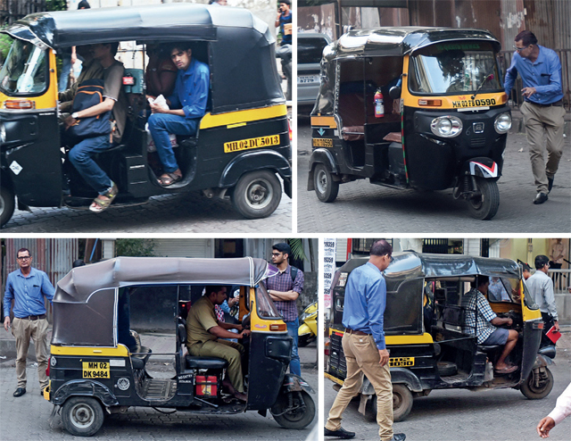 (From Top Left) An auto carrying four passengers in clear violation of RTO rules and exposing the transport authorities' claim; Mirror correspondent Kamal Mishra approached 20 autorickhaws to take him to Camp Road, Tolani Naka and Hema Industries but all of them, except one, refused to take him
