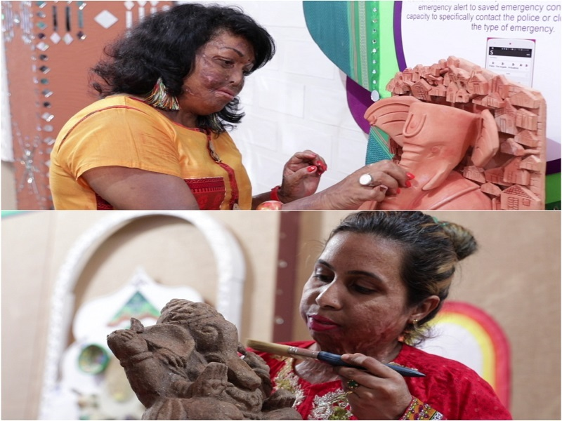 Survivors Sneha and Siya sculpted eight eco-friendly Ganesha idols