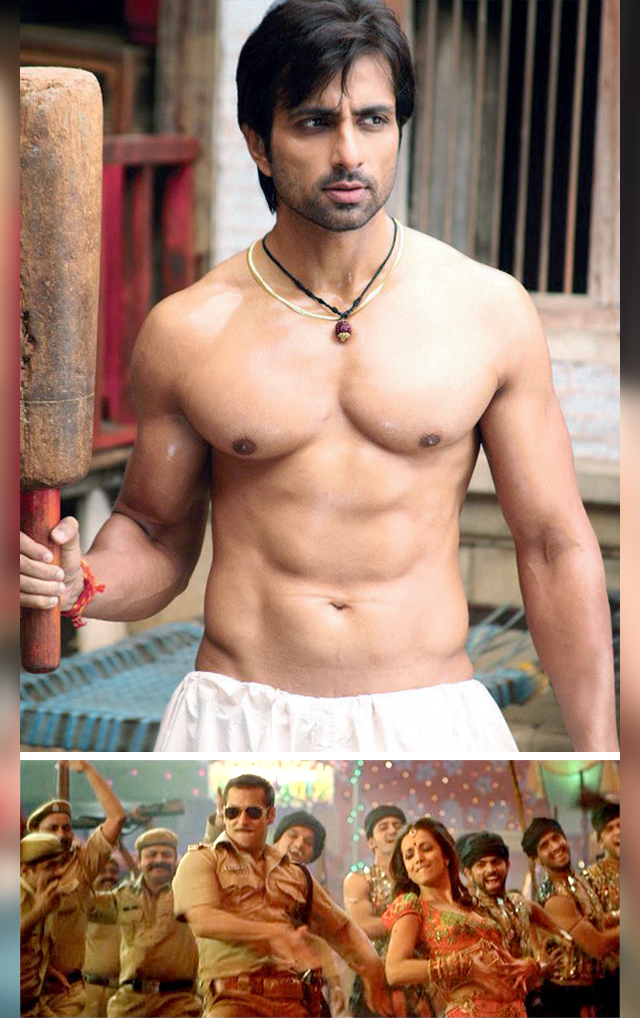 Above: A still from 'Munni Badnam Hui'; Sonu Sood's Chedi Singh in the film (top)