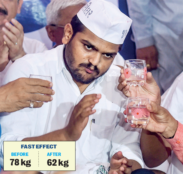 Hardik Patel breaks his fast with lime and coconut water