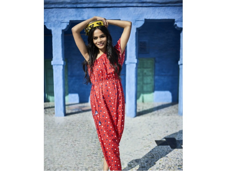 Global Desi One Shoulder Geometric Print Jumpsuit- Red