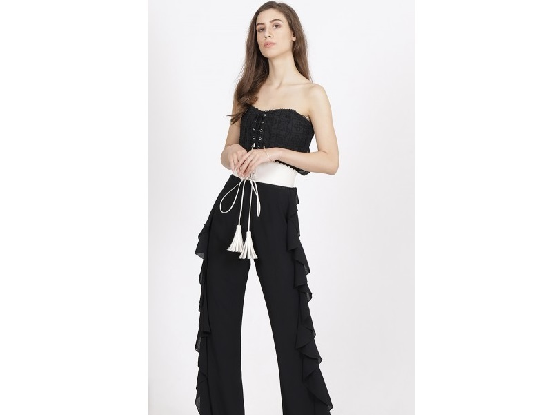 Label Ritu Kumar Black Ruffle Off-Shoulder Jumpsuit