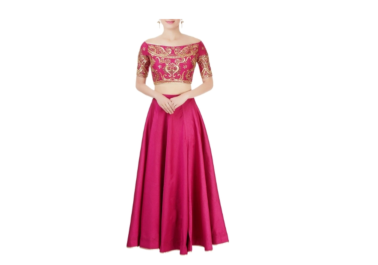 Pink Off-shoulder lehenga Choli
