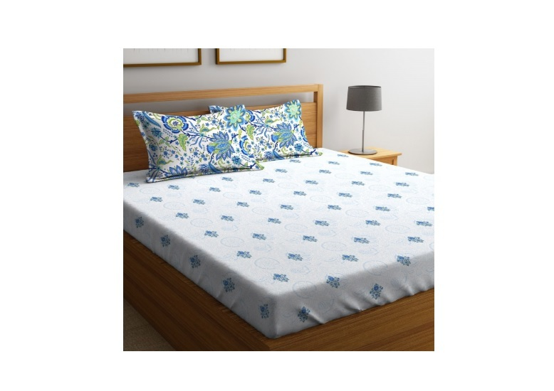 Portico Printed King-Size Fitted Bedsheet with Pillow Covers