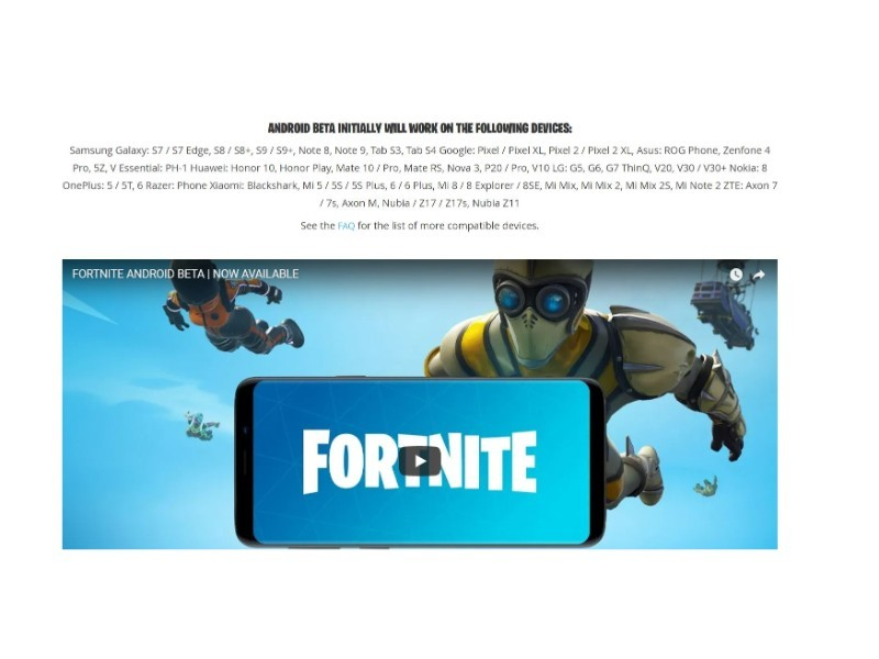 fortnite android compatible list 2019